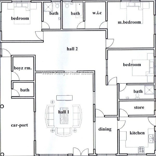 3 Bedroom house house plans and designs in Kisumu,house plans and designs in Kenya 1
